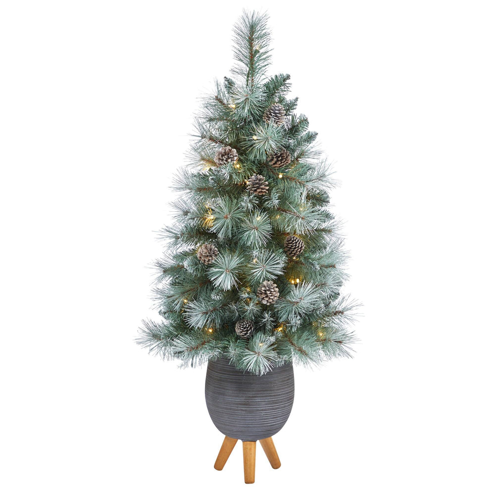 3.5' Frosted Tip British Columbia Mountain Pine Artificial Christmas Tree with 50 Clear Lights, Pine Cones and 112 Bendable Branches in Metal Planter in Gray Planter with Stand