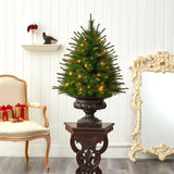 3.5' New England Pine Artificial Christmas Tree with 50 Clear Lights and 117 Bendable Branches in Iron Colored Urn