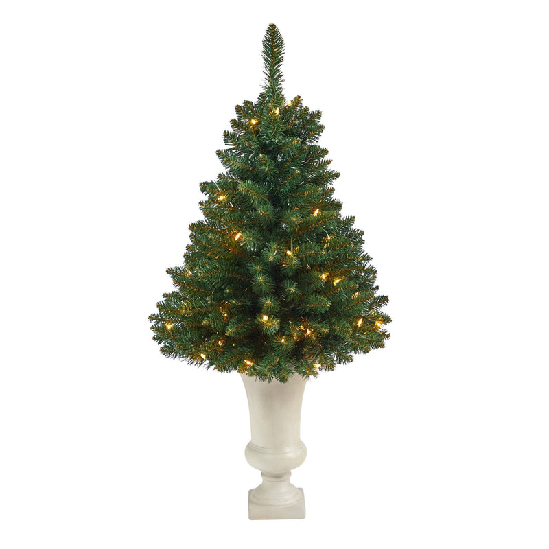 3.5' Northern Rocky Spruce Artificial Christmas Tree with 50 Clear Lights and 154 Bendable Branches in Sand Colored Urn