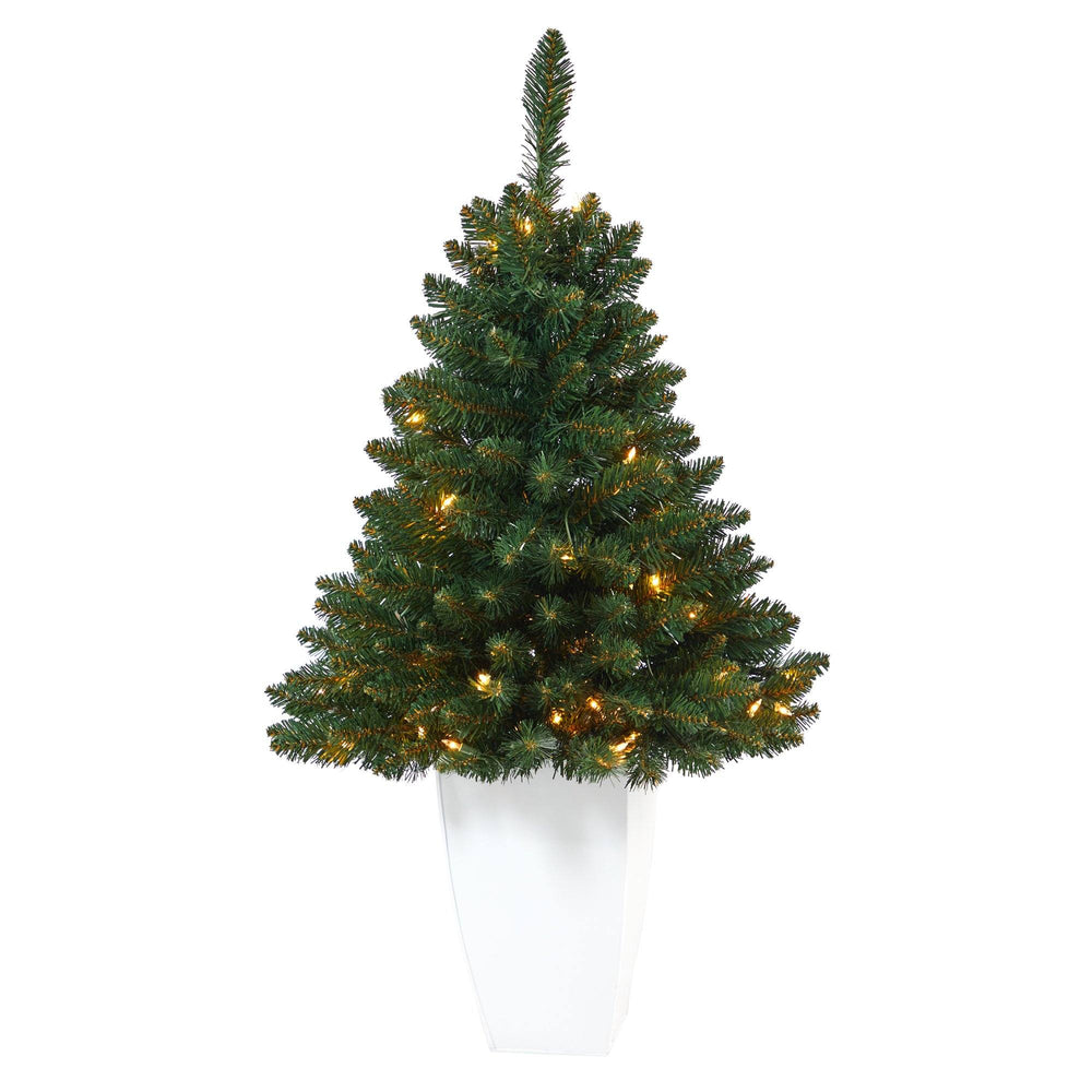 3.5' Northern Rocky Spruce Artificial Christmas Tree with 50 Clear Lights and 154 Bendable Branches in White Metal Planter