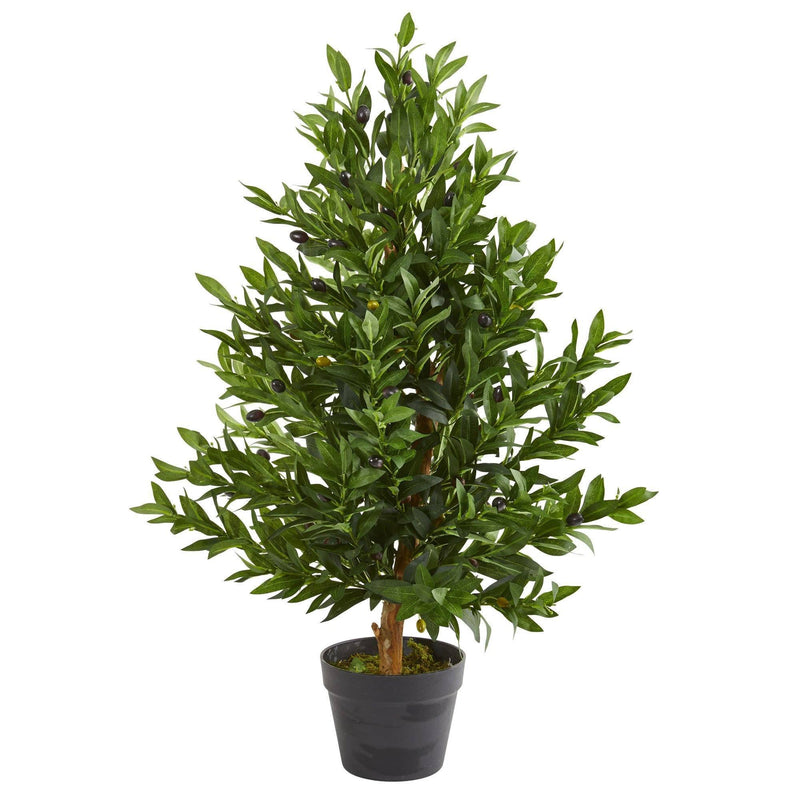 "35"" Olive Cone Topiary Artificial Tree UV Resistant (Indoor/Outdoor)"