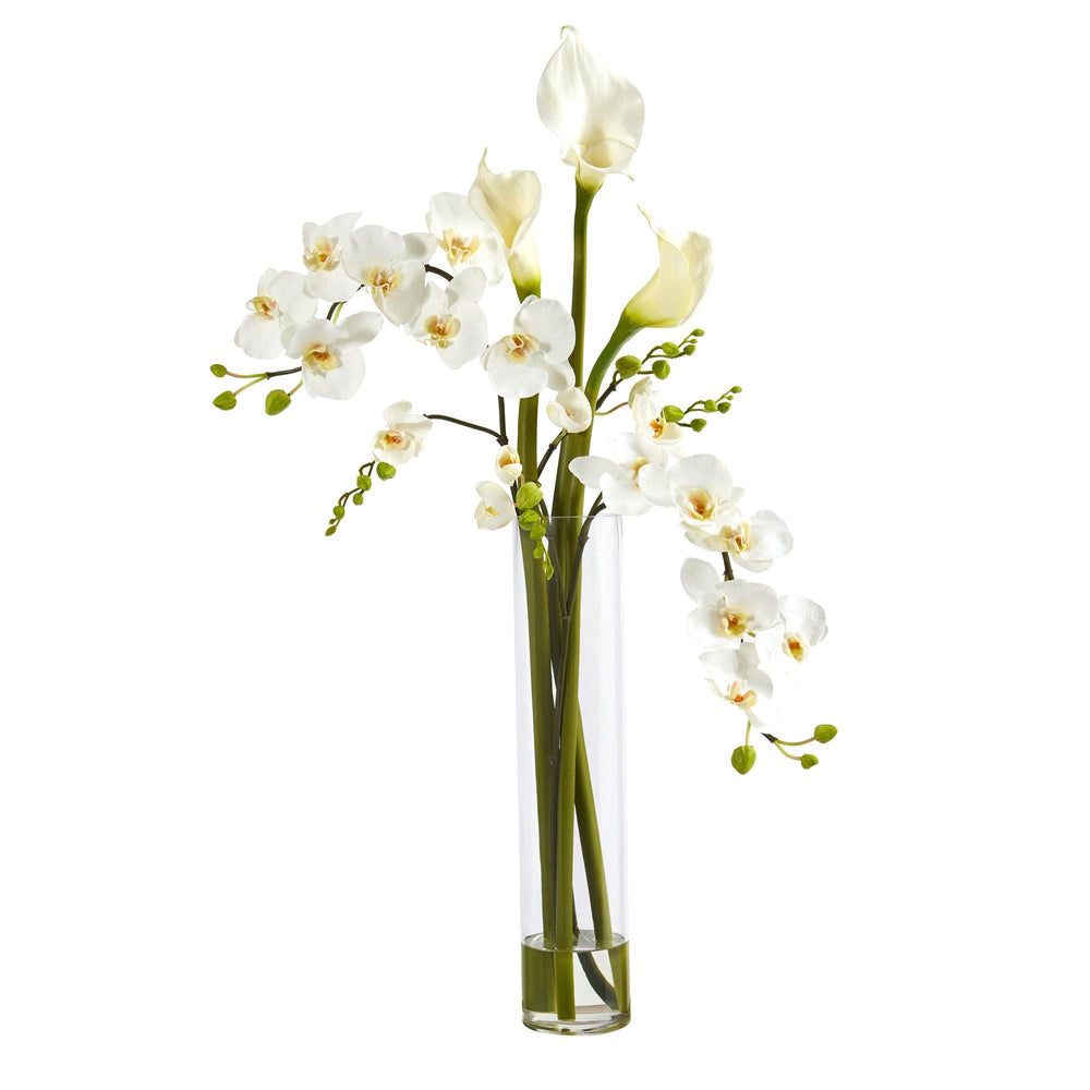 "35"" Phalaenopsis Orchid and Calla Lily Artificial Arrangement in Glass Vase"