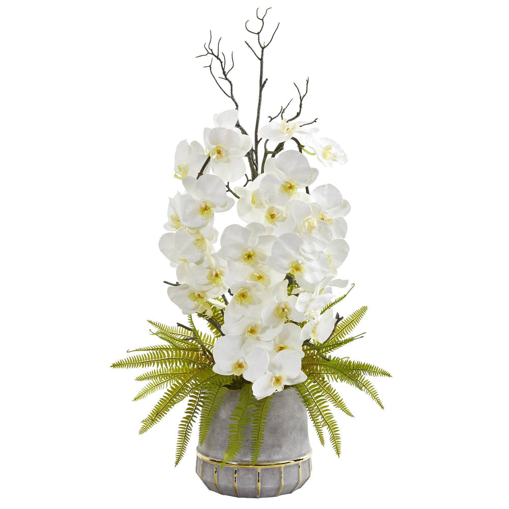 "35"" Phalaenopsis Orchid and Fern Artificial Arrangement in Stoneware Vase with Gold Trimming"