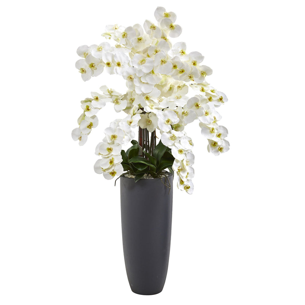 3.5' Phalaenopsis Orchid Artificial Arrangement in Gray Vase