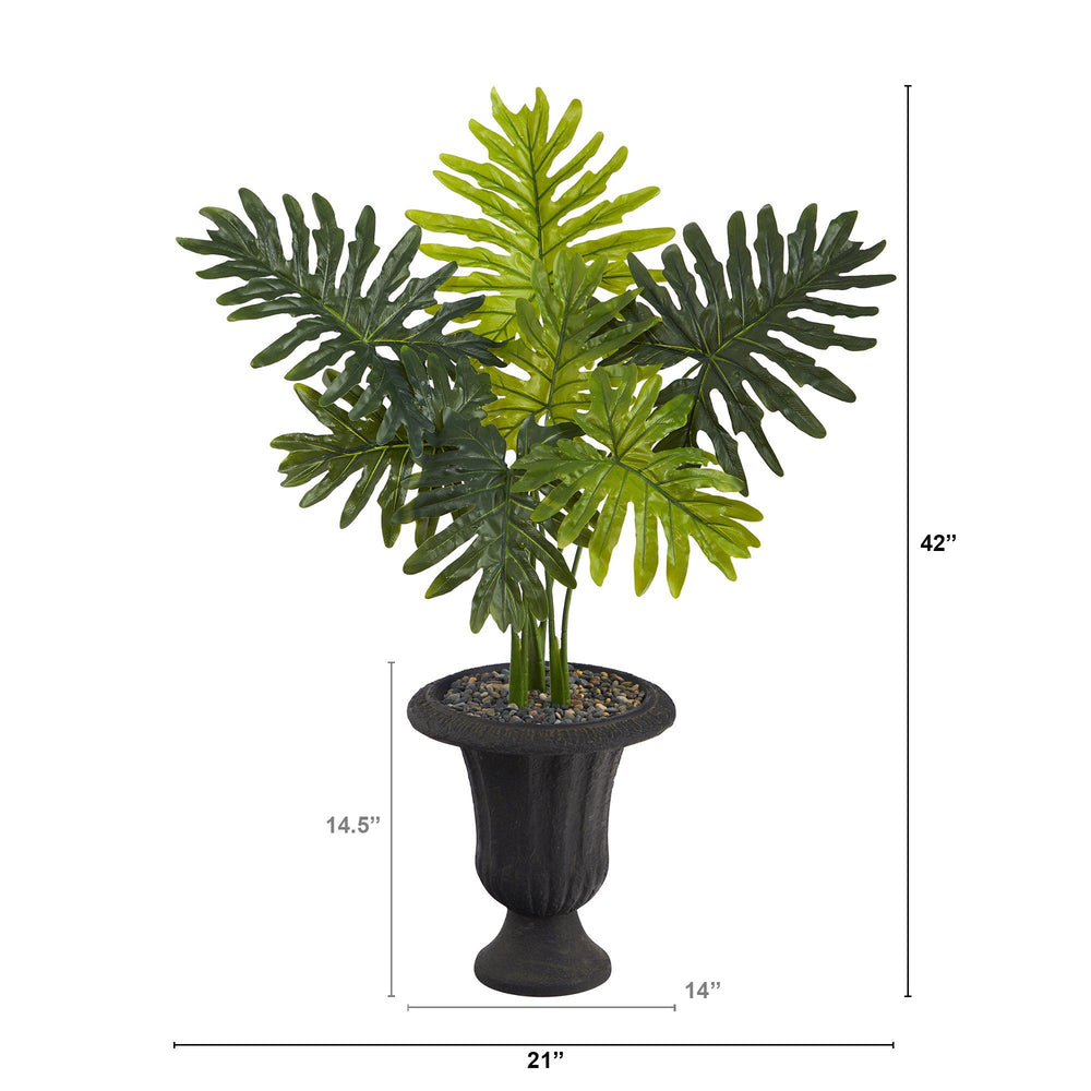 3.5' Philodendron Artificial Plant in Charcoal Urn (Real Touch)