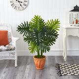 3.5' Philodendron Artificial Plant in Terra-Cotta Planter (Real Touch)