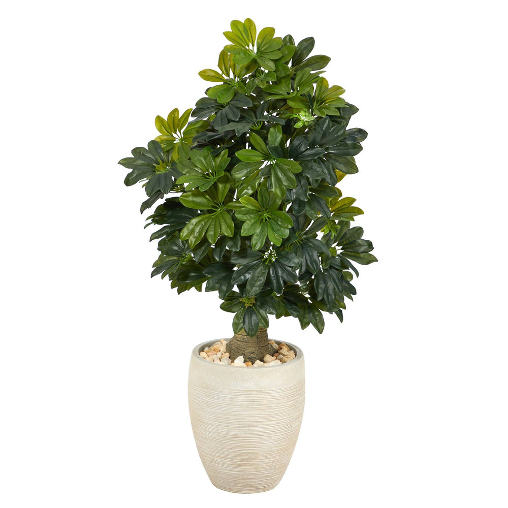 3.5' Schefflera Artificial Tree in Sand Colored Planter (Real Touch)