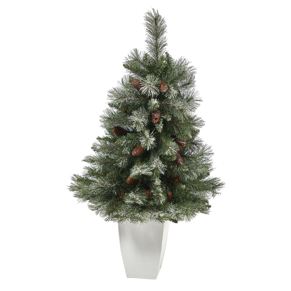 3.5' Snowed French Alps Mountain Pine Artificial Christmas Tree with 135 Bendable Branches and Pine Cones in White Metal Planter