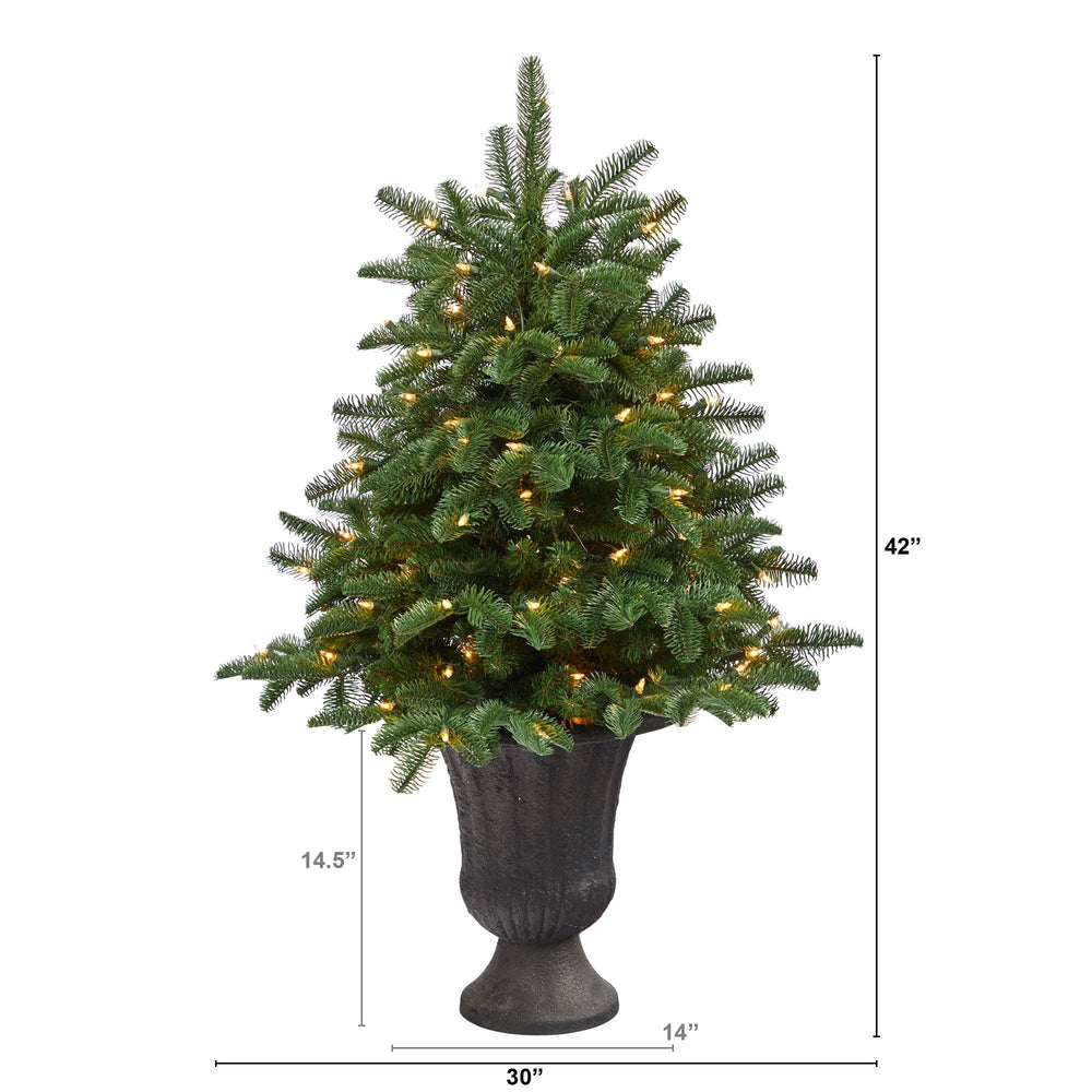 3.5' South Carolina Spruce Artificial Christmas Tree with 100 White Warm Light and 458 Bendable Branches in Charcoal Urn