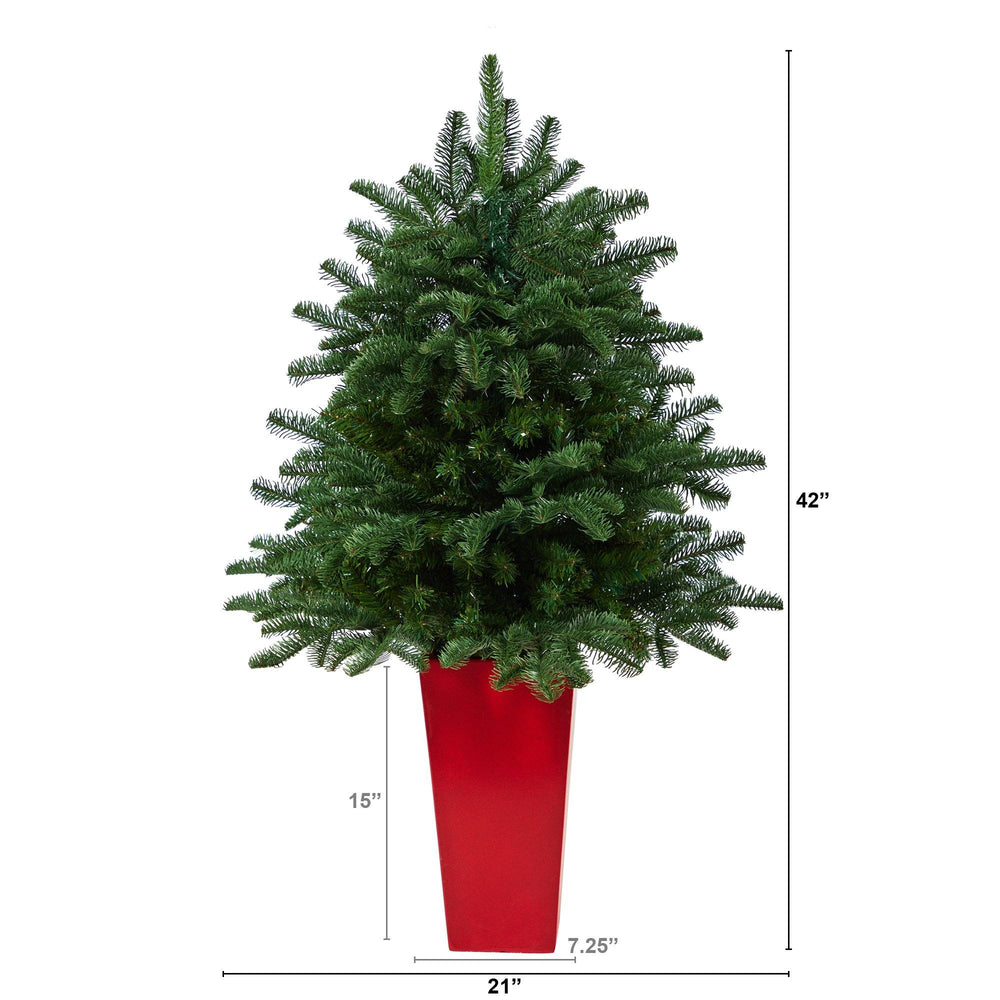 3.5' South Carolina Spruce Artificial Christmas Tree with 458 Bendable Branches in Red Tower Planter