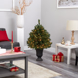 3.5' Wyoming Mixed Pine Artificial Christmas Tree with 150 Clear Lights and 270 Bendable Branches in Charcoal Urn