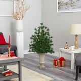 3.5' Yukon Mixed Pine Artificial Christmas Tree with 213 Bendable Branches in Sand Colored Urn