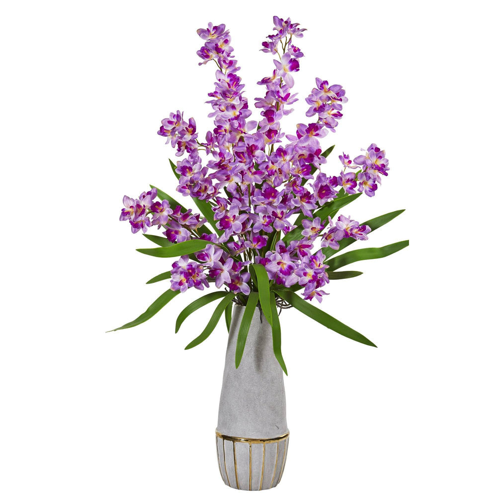 37 Orchid Artificial Arrangement In Stoneware Oval Vase With Gold Trimming Nearly Natural