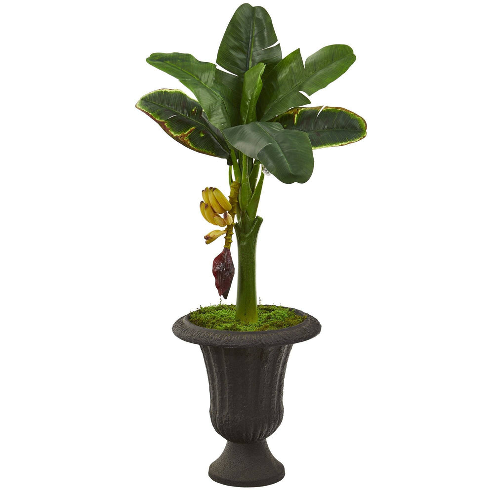 "38"" Banana Artificial Tree in Charcoal Urn"