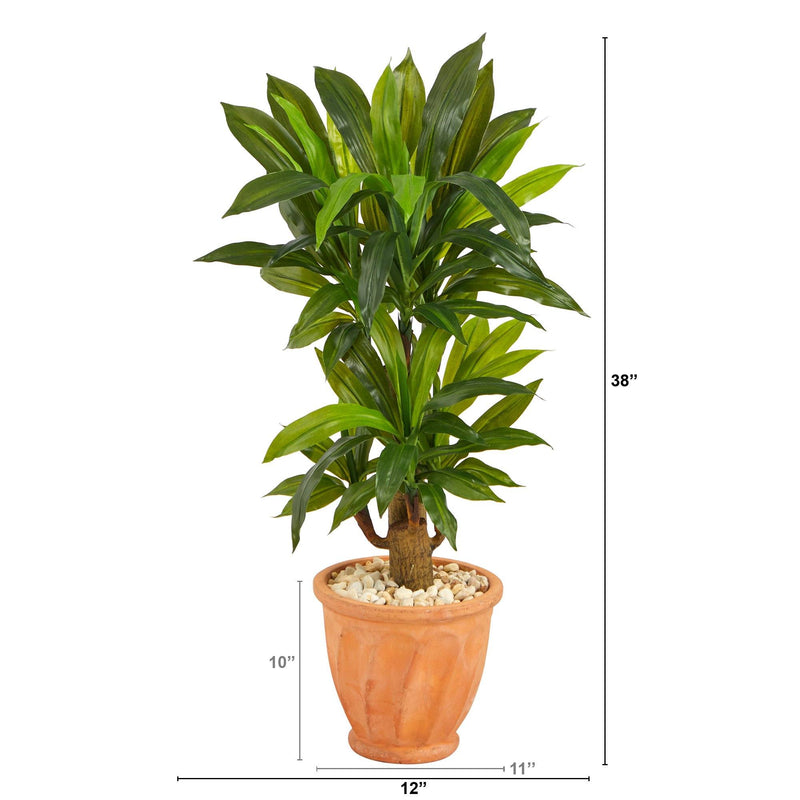 "38"" Corn Stalk Dracaena Artificial Plant in Terra-Cotta Planter (Real Touch)"