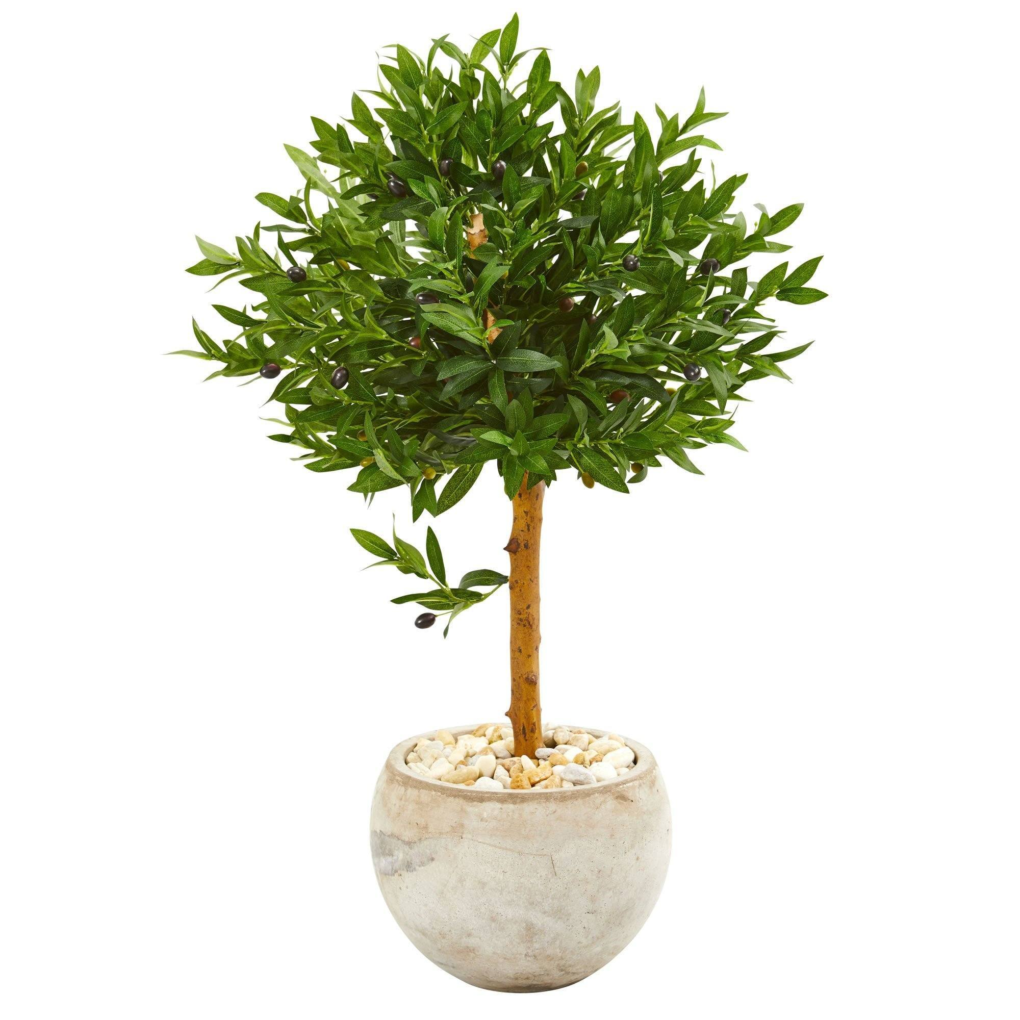 38 Olive Topiary Artificial Tree In Bowl Planter Uv Resistant Indoor Outdoor Nearly Natural