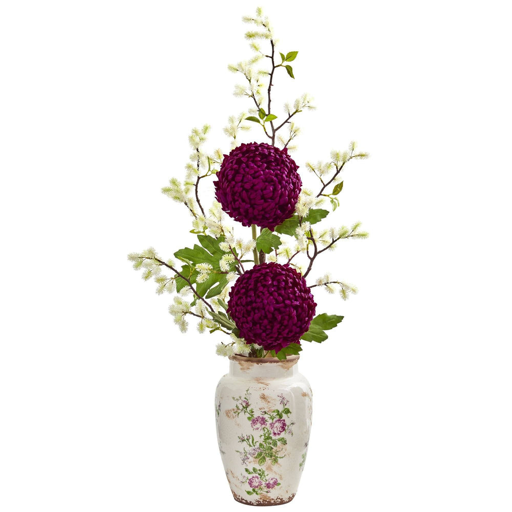 39 Mum And Thistle Artificial Arrangement In Floral Vase Nearly Natural