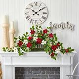 "39"" Poinsettia and Variegated Holly Artificial Plant in Decorative Planter (Real Touch)"