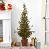 "4' Alpine ""Natural Look"" Artificial Christmas Tree in Wood Planter with Pine Cones"