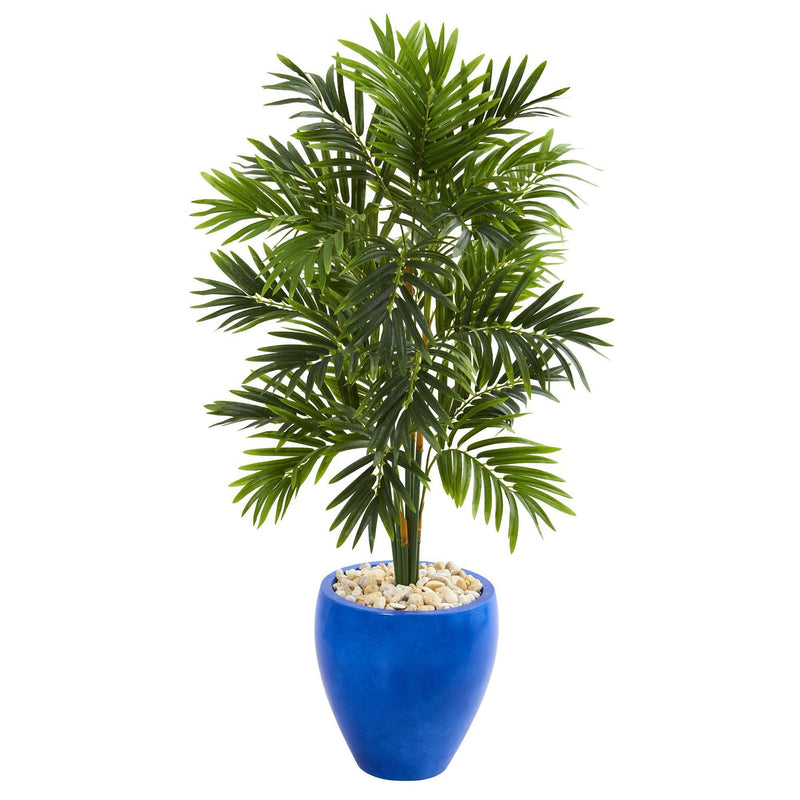 4' Areca Palm Artificial Tree in Glazed Blue Planter