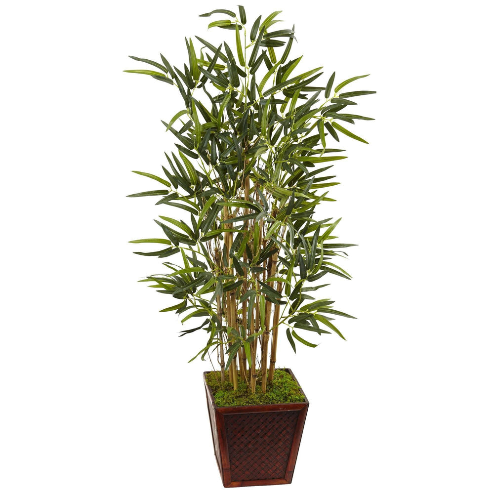 4' Artificial Beige Trunk Bamboo Tree in Bamboo Pot