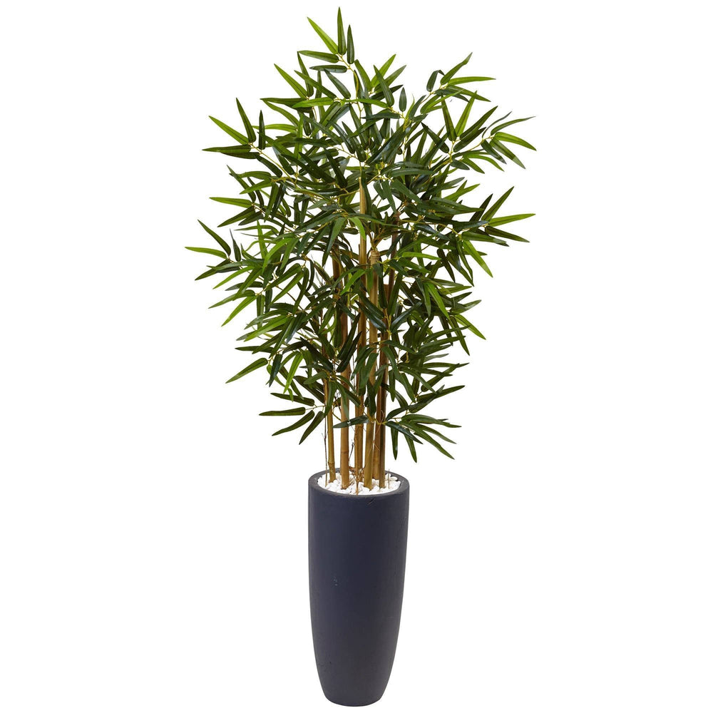 4' Bamboo Tree in Gray Cylinder Planter