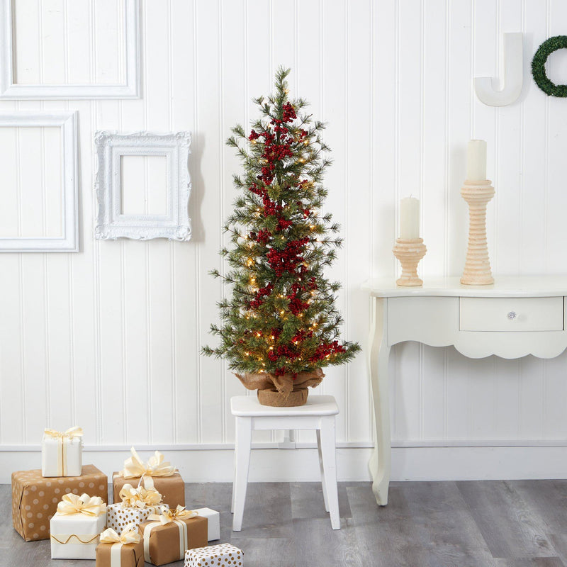 4' Berry and Pine Artificial Christmas Tree with 100 Warm White Lights and Burlap Wrapped Base