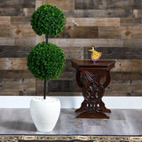 4' Boxwood Double Ball Artificial Topiary Tree in White Planter UV Resistant (Indoor/Outdoor)
