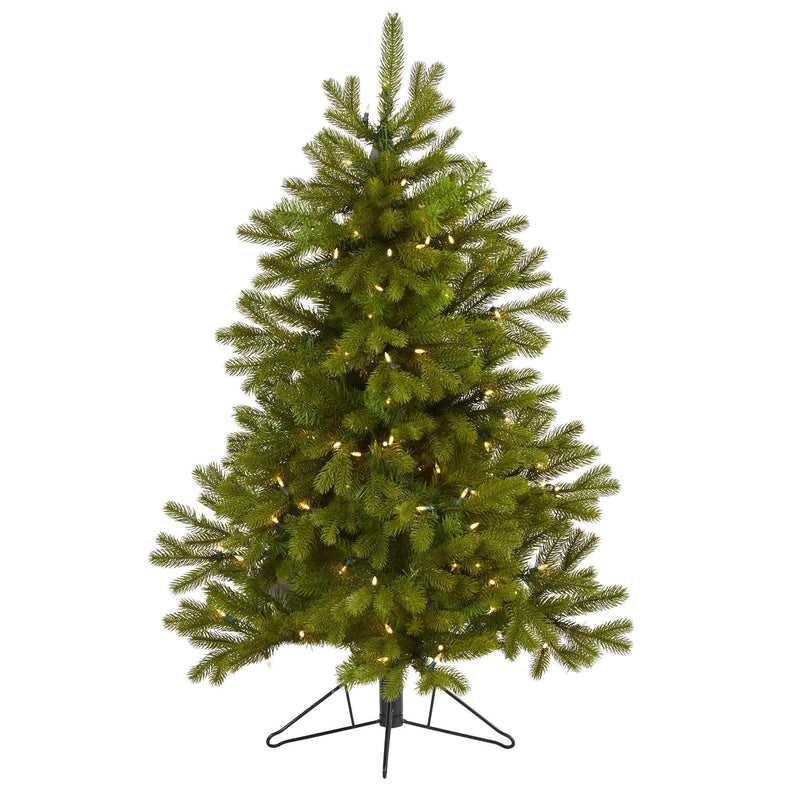 4' Cambridge Spruce Flat Back Artificial Christmas Tree with 100 Warm White (Multifunction) LED Lights and 221 Bendable Branches