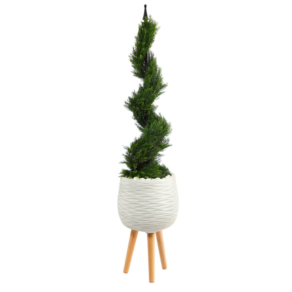 4' Cypress Spiral Topiary Artificial Tree in White Planter with Stand
