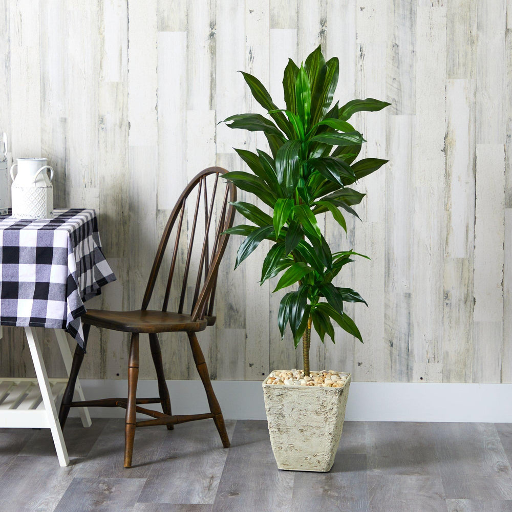 4' Dracaena Artificial Plant in Country White Planter (Real Touch)