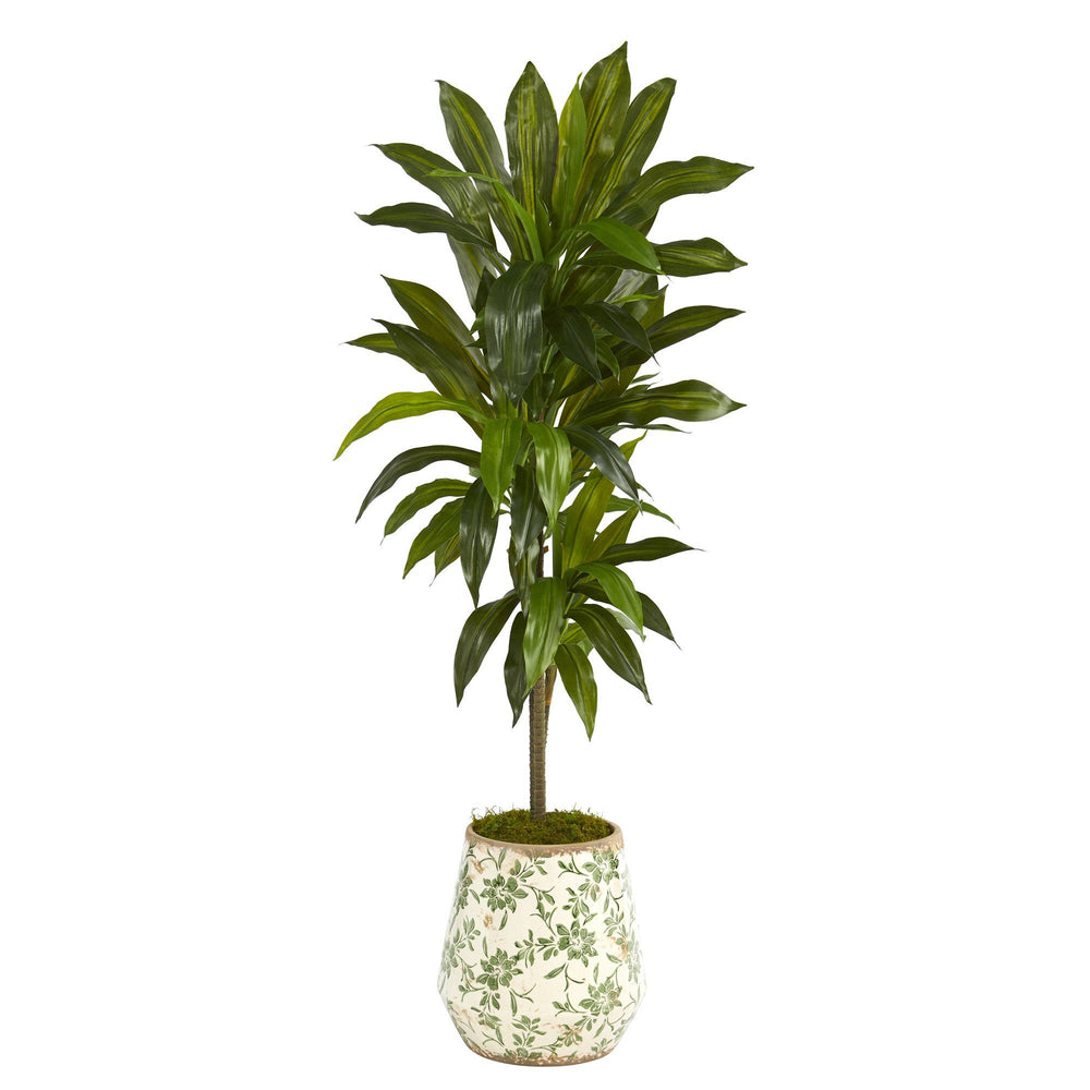 4' Dracaena Artificial Plant in Flower Print Planter (Real Touch)