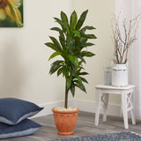 4' Dracaena Artificial Plant in Terra-Cotta Planter (Real Touch)