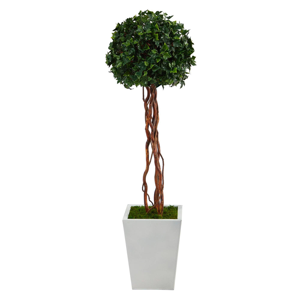4' English Ivy Topiary Single Ball Artificial Tree in White Metal Planter UV Resistant (Indoor/Outdoor)