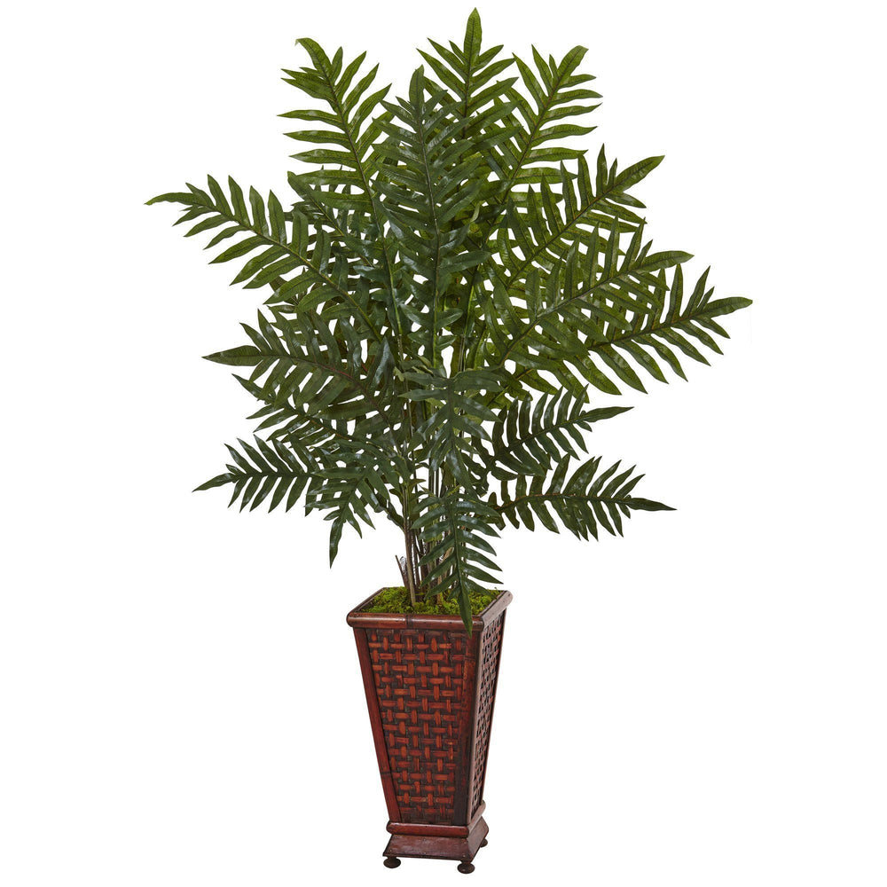 4' Evergreen Plant in Round Wood Planter