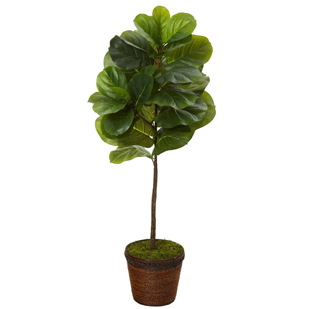 4' Fiddle Leaf Artificial Tree in Coiled Rope Planter (Real Touch)