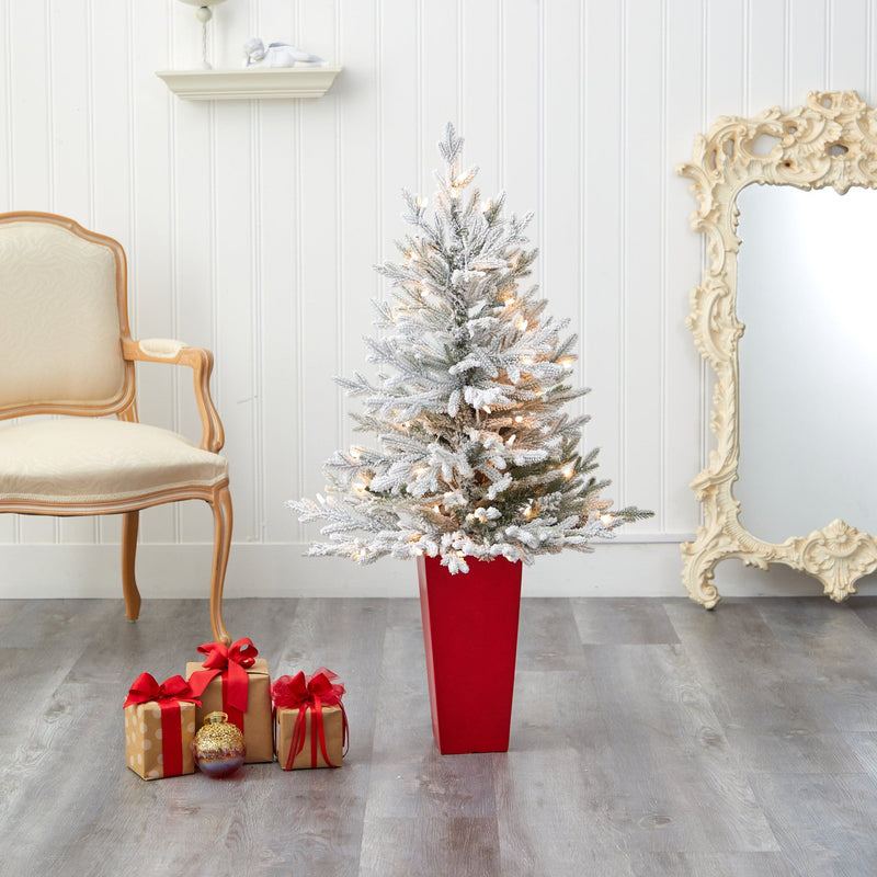4' Flocked Fraser Fir Artificial Christmas Tree with 200 Warm White Lights and 481 Bendable Branches in Red Planter