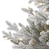 4' Flocked Fraser Fir Artificial Christmas Tree with 300 Warm White Lights and 967 Bendable Branches