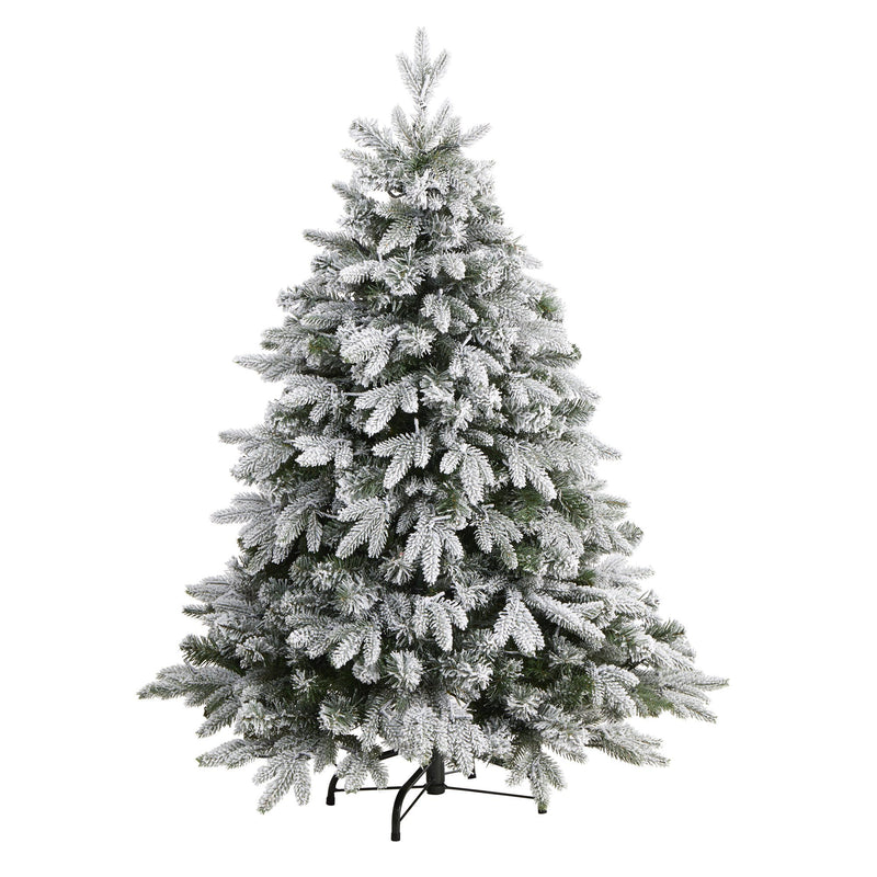 4' Flocked Full Bodied Swedish Spruce Artificial Christmas Tree with 170 Clear LED Lights and 418 Bendable Branches