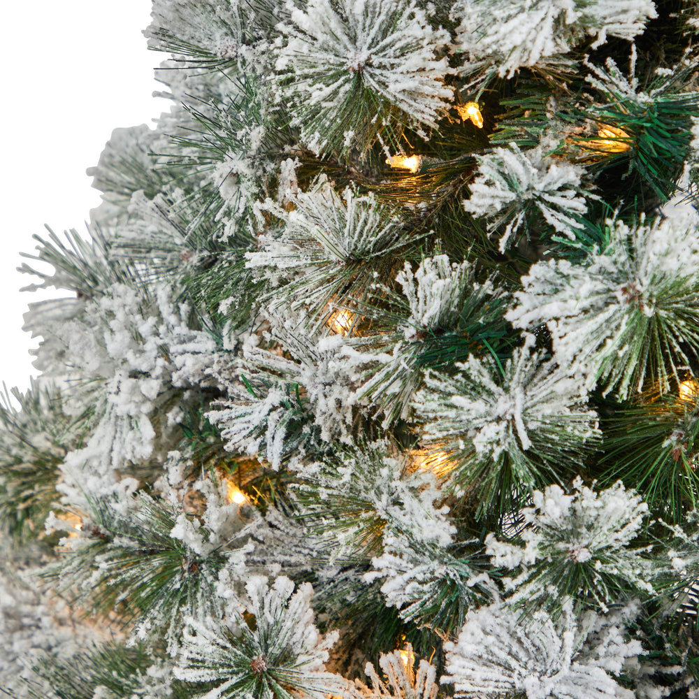 4' Flocked Oregon Pine Artificial Christmas Tree with 100 Clear Lights and 215 Bendable Branches