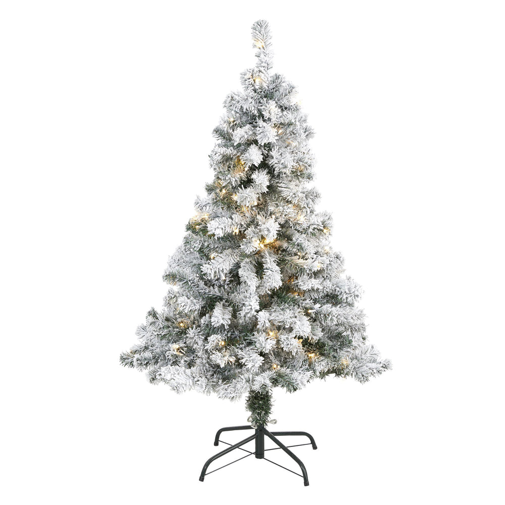 4' Flocked Rock Springs Spruce Artificial Christmas Tree with 100 Clear LED Lights