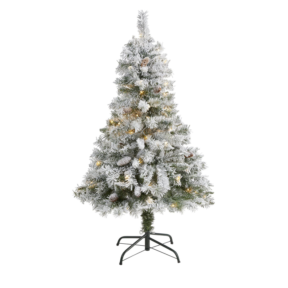 4' Flocked White River Mountain Pine Artificial Christmas Tree with Pinecones and 100 Clear LED Lights