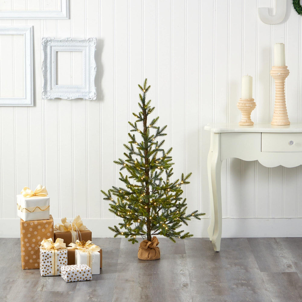 "4' Fraser Fir ""Natural Look"" Artificial Christmas Tree with 100 Clear LED Lights, a Burlap Base and 403 Bendable Branches"