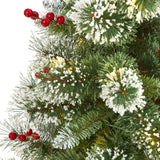 4' Frosted Swiss Pine Artificial Christmas Tree with 100 Clear LED Lights and Berries