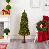 4' Grand Alpine Artificial Christmas Tree with 100 Clear Lights and 361 Bendable Branches on Natural Trunk