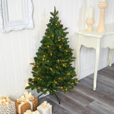 4' Grand Teton Spruce Flat Back Artificial Christmas Tree with 90 Clear LED Lights and 369 Bendable Branches