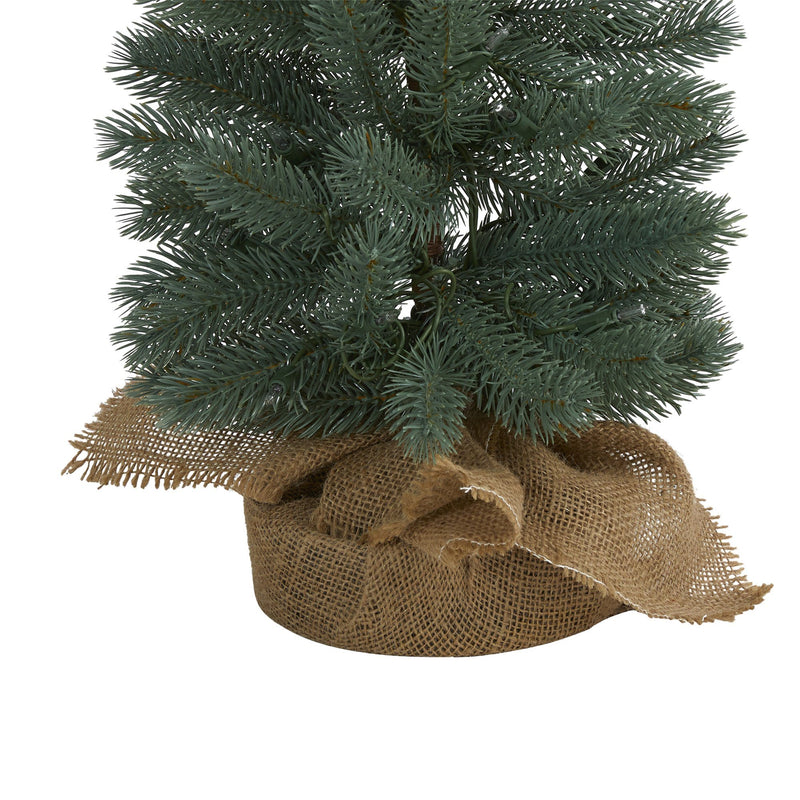 4' Green Pine Artificial Christmas Tree with 70 Warm White Lights Set in a Burlap Base