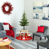 4' Layered Washington Spruce Artificial Christmas Tree with 100 Clear LED Lights and 189 Bendable Branches