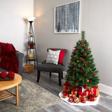 4' Mixed Pine Artificial Christmas Tree with 100 Clear LED Lights, Pine Cones and Berries