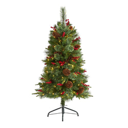 4' Norway Mixed Pine Artificial Christmas Tree with 150 Clear LED Lights, Pine Cones and Berries